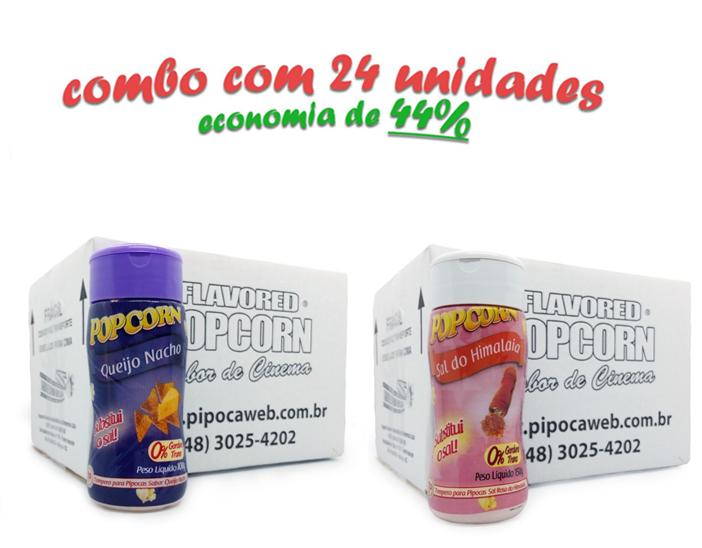 TEMPEROS P/ PIPOCA - Cx 24 FRASCOS - 12 QUEIJO NACHO - 12 SAL DO HIMALAIA