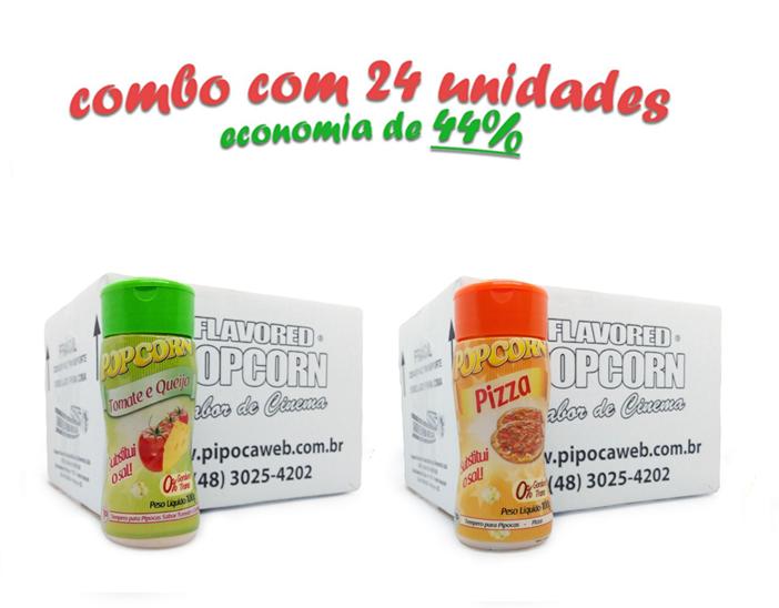 TEMPEROS P/ PIPOCA - Cx 24 FRASCOS - 12 TOMATE E QUEIJO - 12 PIZZA