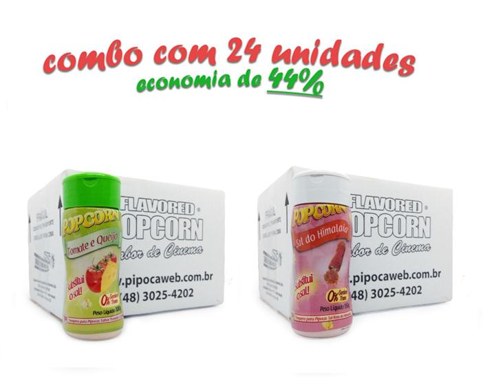 TEMPEROS P/ PIPOCA - Cx 24 FRASCOS - 12 TOMATE E QUEIJO - 12 SAL DO HIMALAIA