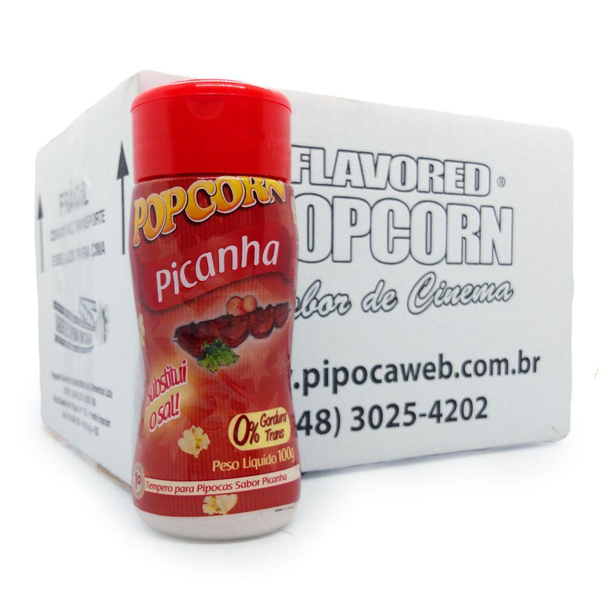 TEMPEROS P/ PIPOCA - SABOR PICANHA 100g - Caixa c/ 12 Un - R$ 7,66 Cada