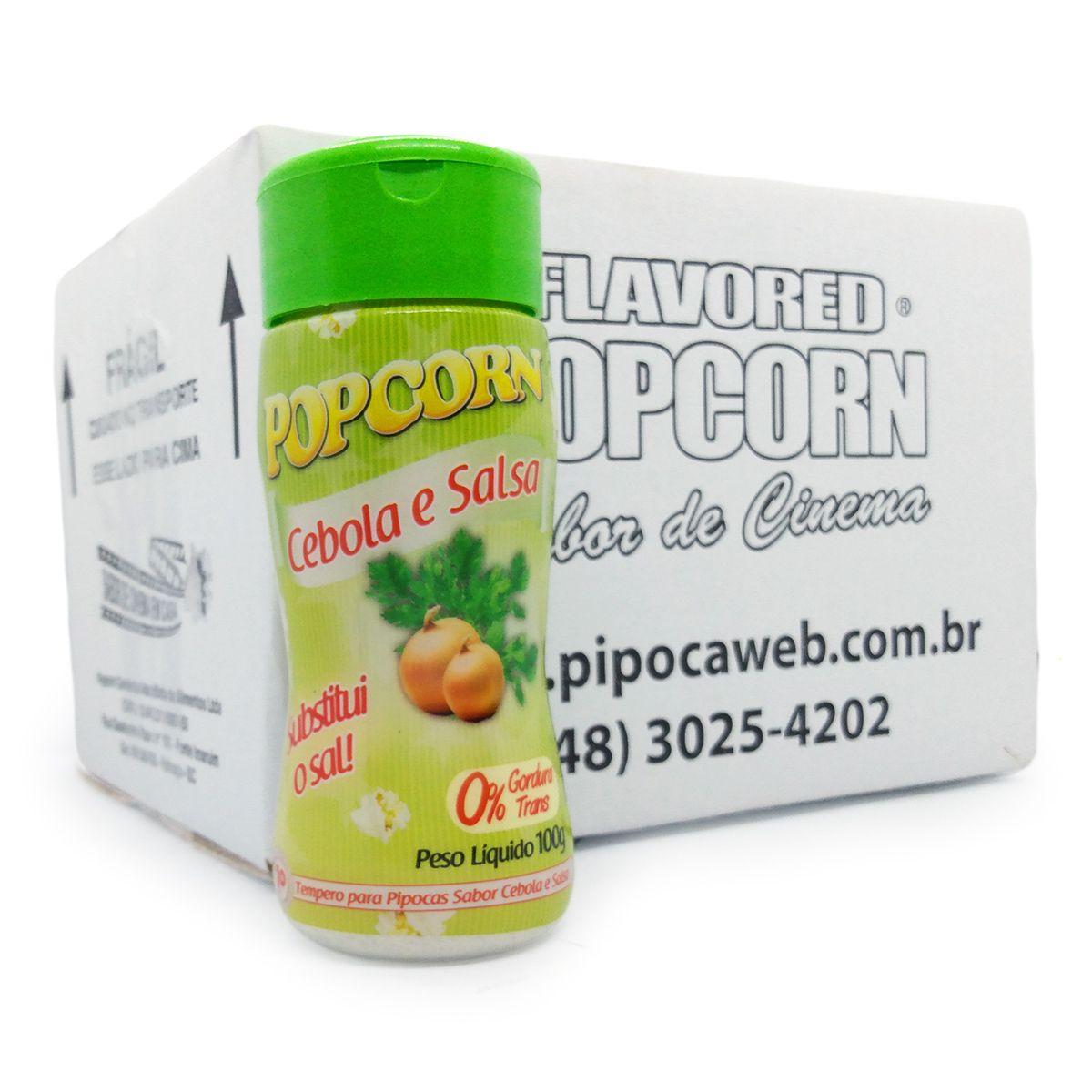 TEMPEROS P/ PIPOCA - CAIXA C/ 12 - SABOR CEBOLA e SALSA 100g