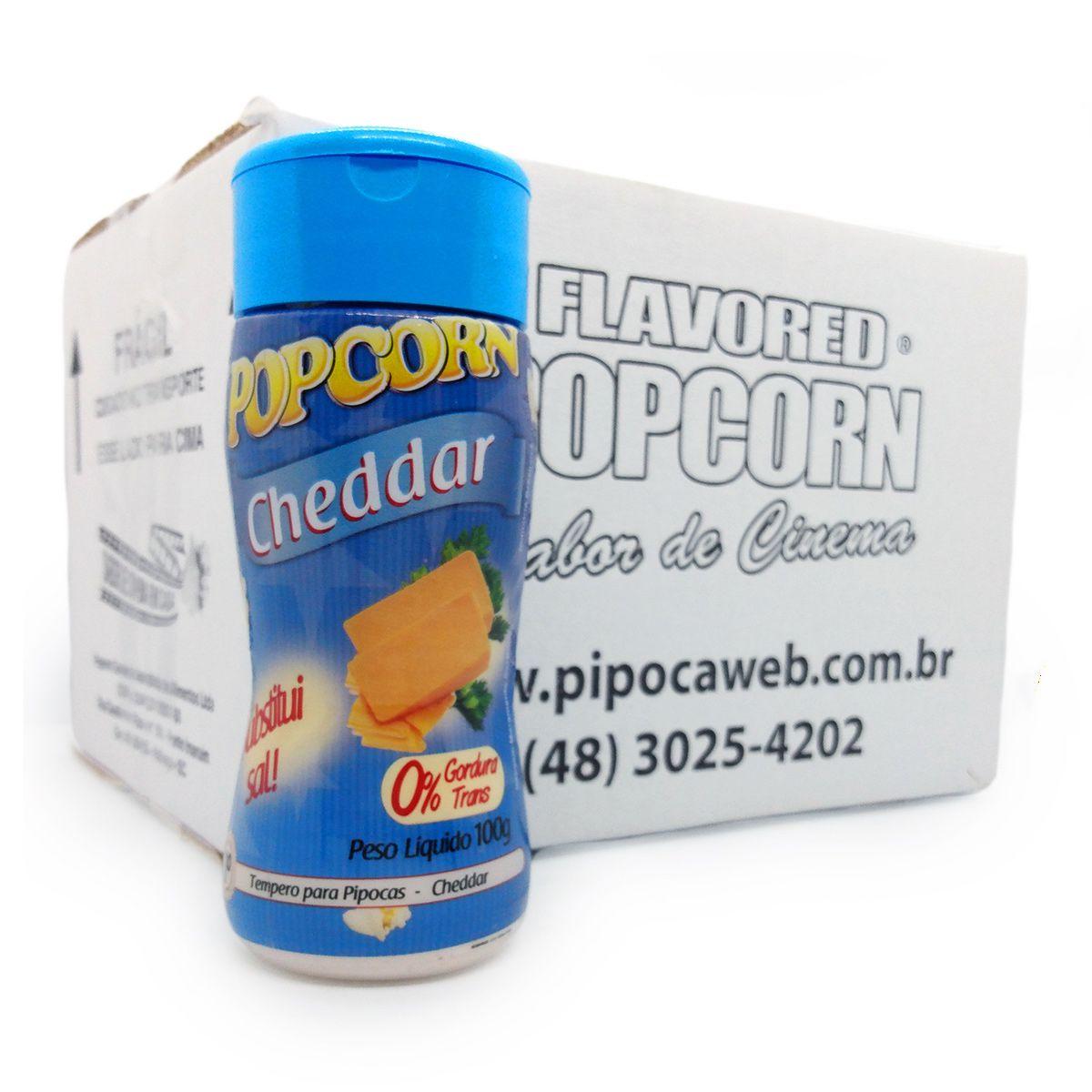 TEMPEROS P/ PIPOCA - SABOR CHEDDAR 100g - Caixa c/ 12 Un - R$ 7,66 cada