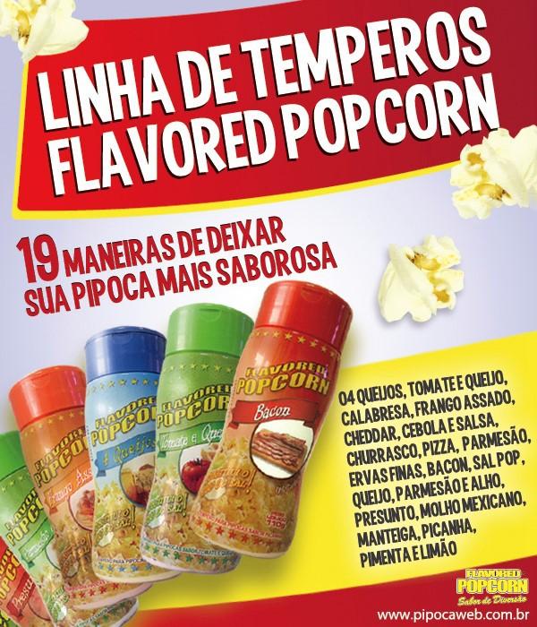 TEMPEROS P/ PIPOCA - SABOR PARMESÃO e ALHO 100g - caixa c/ 12 Un - R$ 7,66 cada