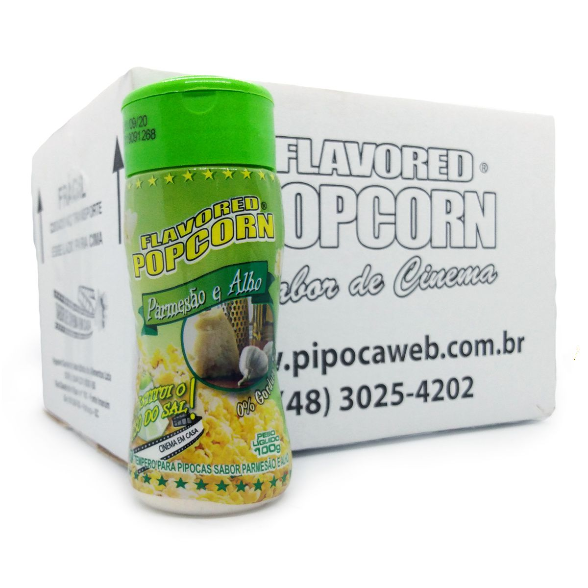 TEMPEROS P/ PIPOCA - SABOR PARMESÃO e ALHO 100g (12 unidades)