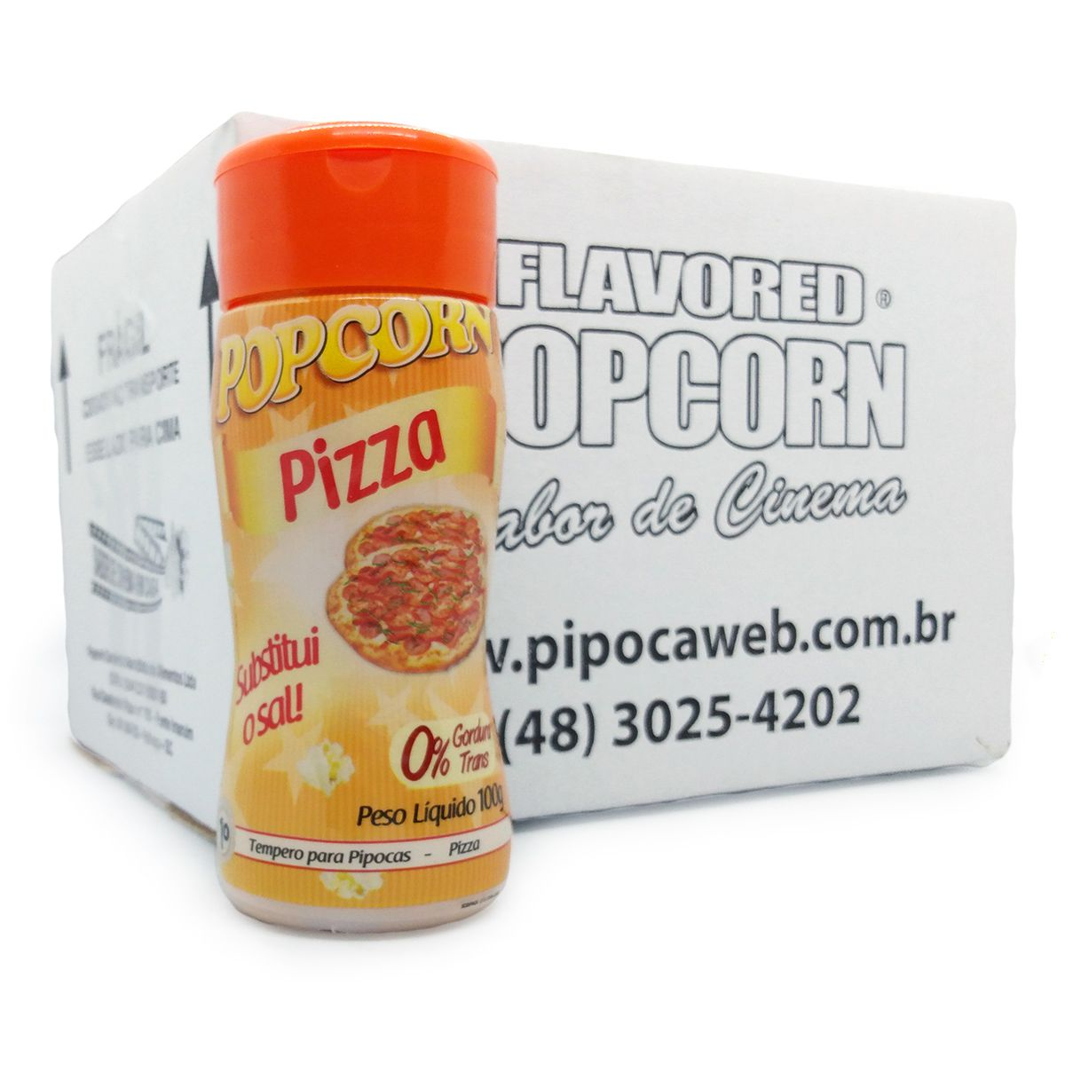 TEMPEROS P/ PIPOCA - SABOR PIZZA 100g - CAixa c/ 12 Un - R$ 7,66 cada