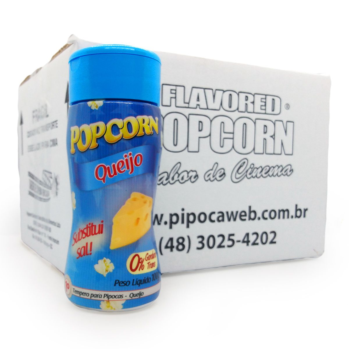 TEMPEROS P/ PIPOCA - SABOR QUEIJO 100g - Caixa c/ 12 un - R$ 7,66 cada