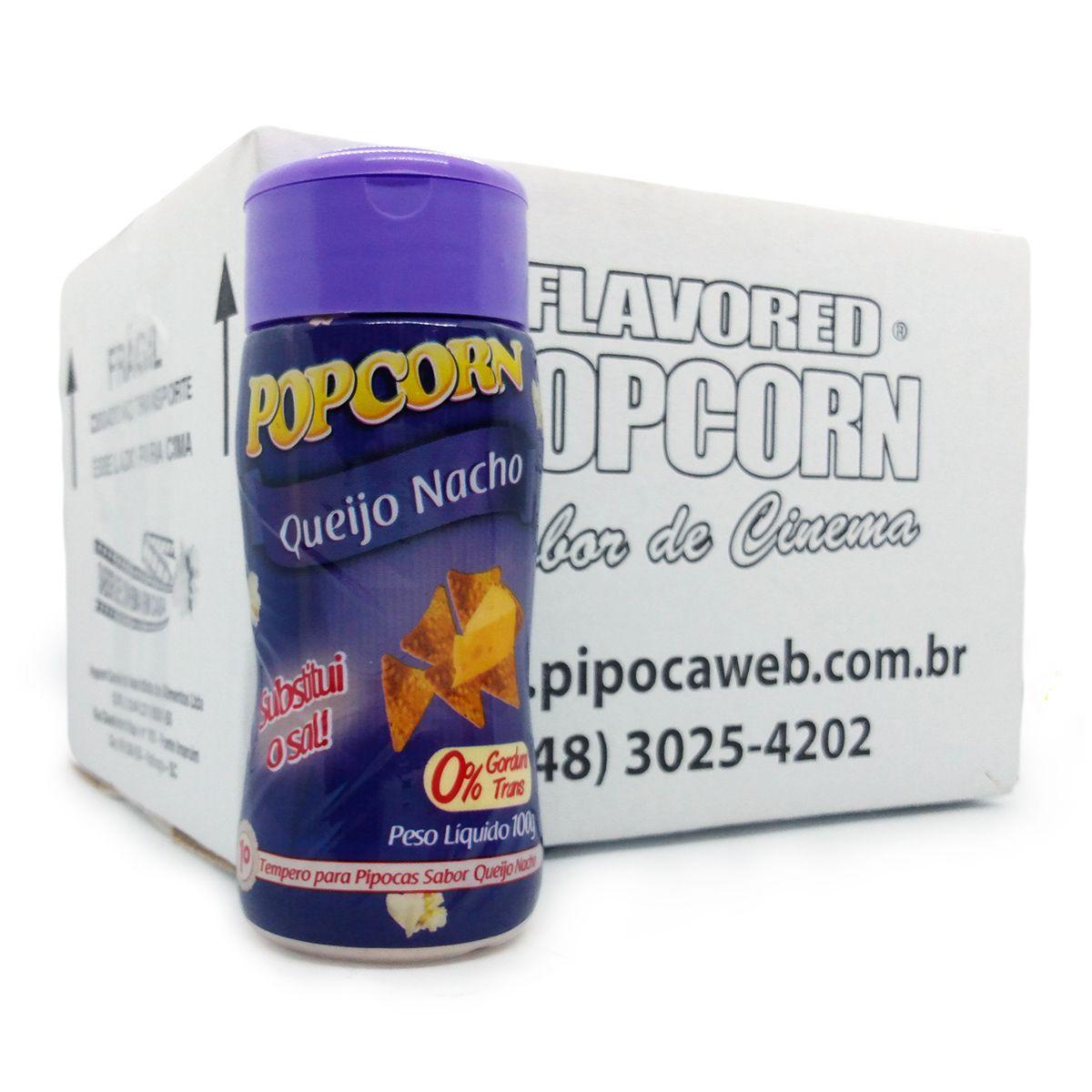 TEMPEROS P/ PIPOCA - SABOR QUEIJO NACHO 100g - Caixa c/ 12 Un - R$ 7,66 cada