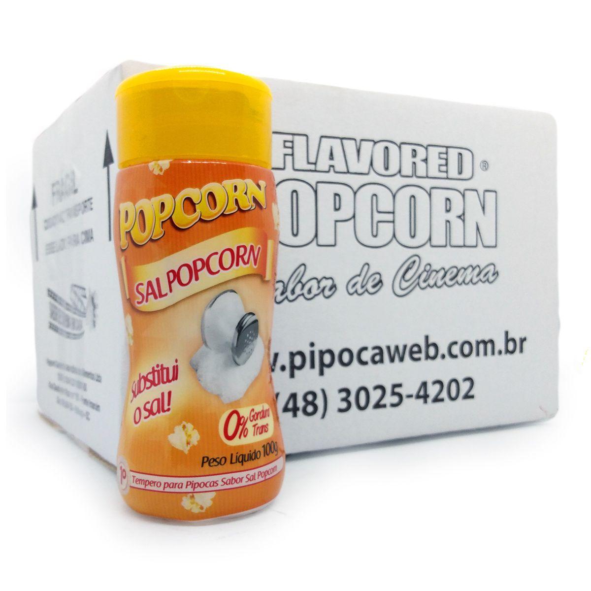 TEMPEROS P/ PIPOCA - CAIXA C/ 12 FRASCOS 100G - SAL POPCORN