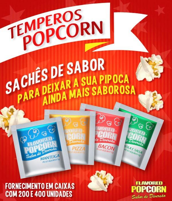 Temperos Popcorn 100 sachês. 25 Cebola e Salsa, 25 Manteiga, 25 Pizza e 25 Bacon.