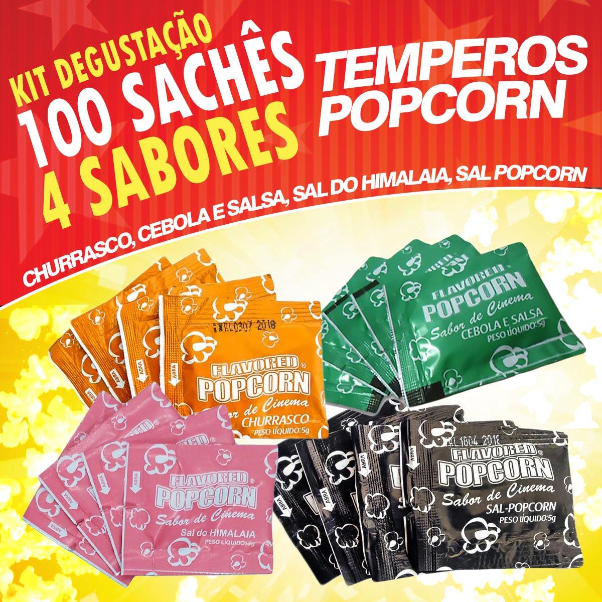 Temperos Popcorn 100 sachês. 25 Churrasco, 25 Cebola e Salsa, 25 Sal do Himalaia e 25 Sal Popcorn