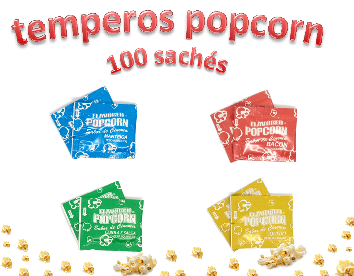 Temperos Popcorn 100 sachês. 25 Manteiga, 25 Bacon, 25 Queijo e 25 Cebola e Salsa