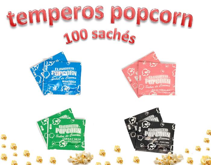 Temperos Popcorn 100 sachês. 25 Manteiga, 25 Cebola e Salsa, 25 Sal do Himalaia e 25 Sal Popcorn