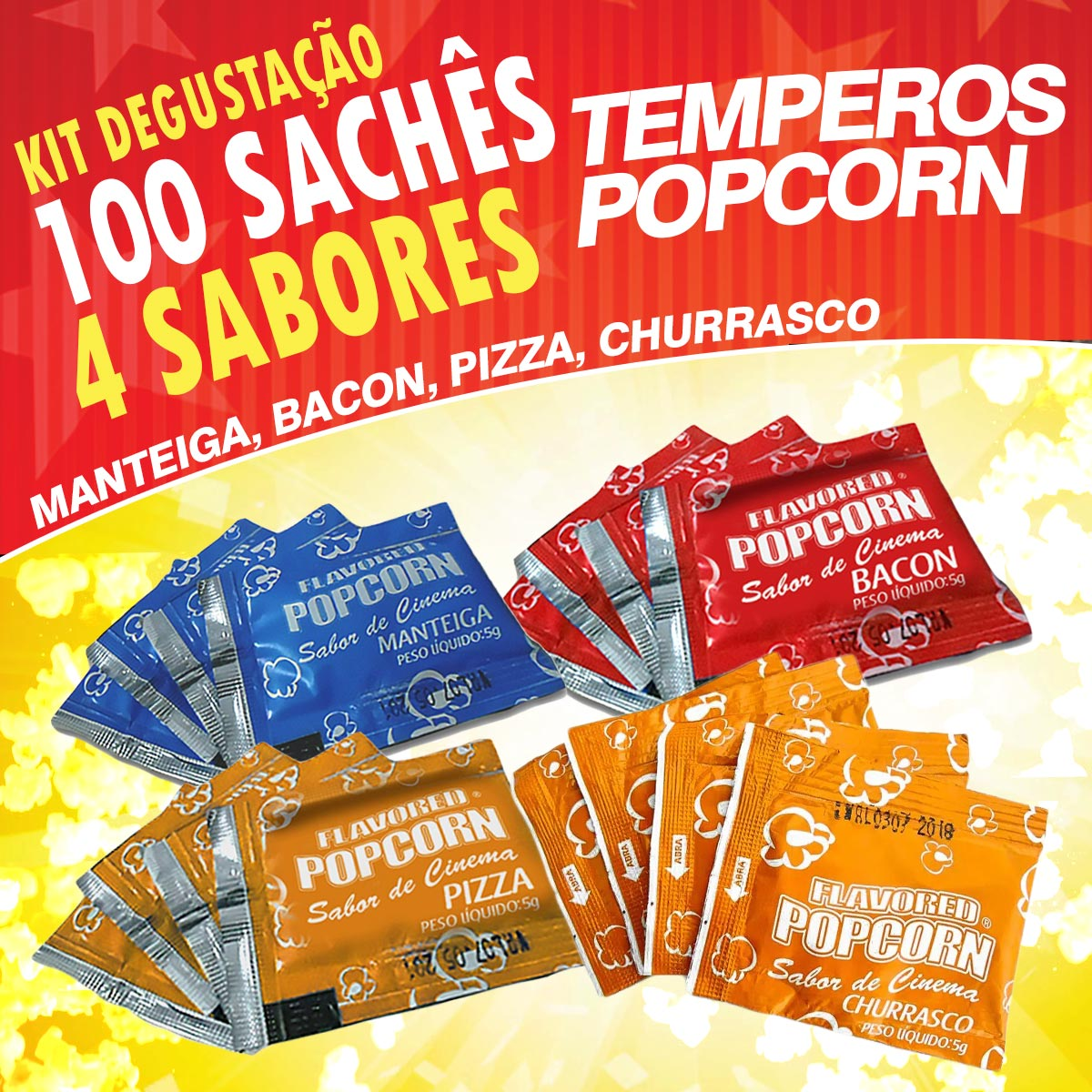 Temperos Popcorn 100 sachês. 25 Manteiga, 25 Churrasco, 25 Pizza e 25 Bacon.