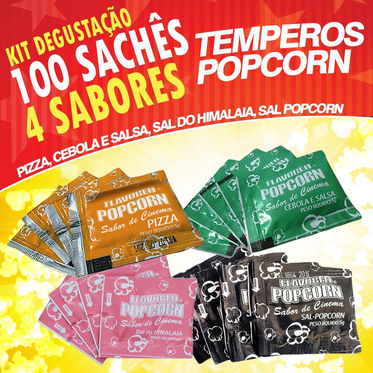 Temperos Popcorn 100 sachês. 25 Pizza, 25 Cebola e Salsa, 25 Sal do Himalaia e 25 Sal Popcorn