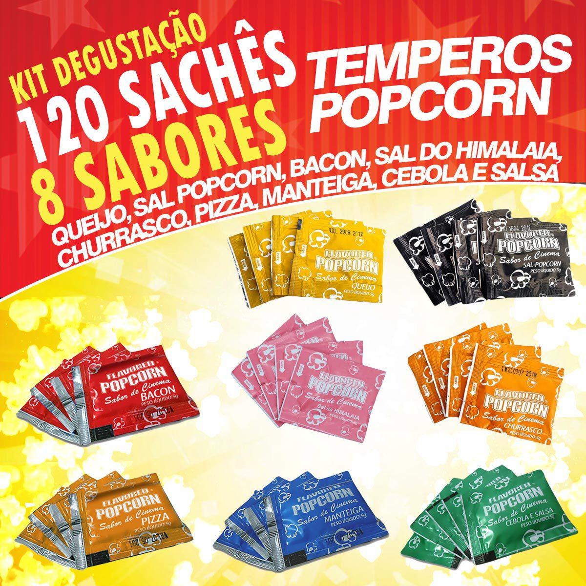 Temperos Popcorn 120 sachês. 15 Cebola e Salsa, 15 Manteiga, 15 Pizza, 15 Churrasco, 15 Queijo, 15 Sal Popcorn, 15 Sal do Himalaia e 15 Bacon.