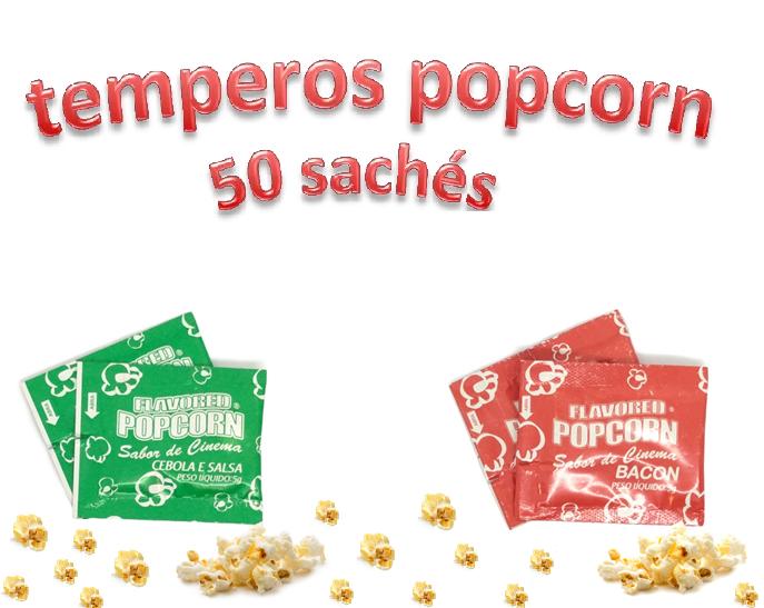 Temperos Popcorn 50 sachês. 25 Bacon e 25 Cebola e Salsa.