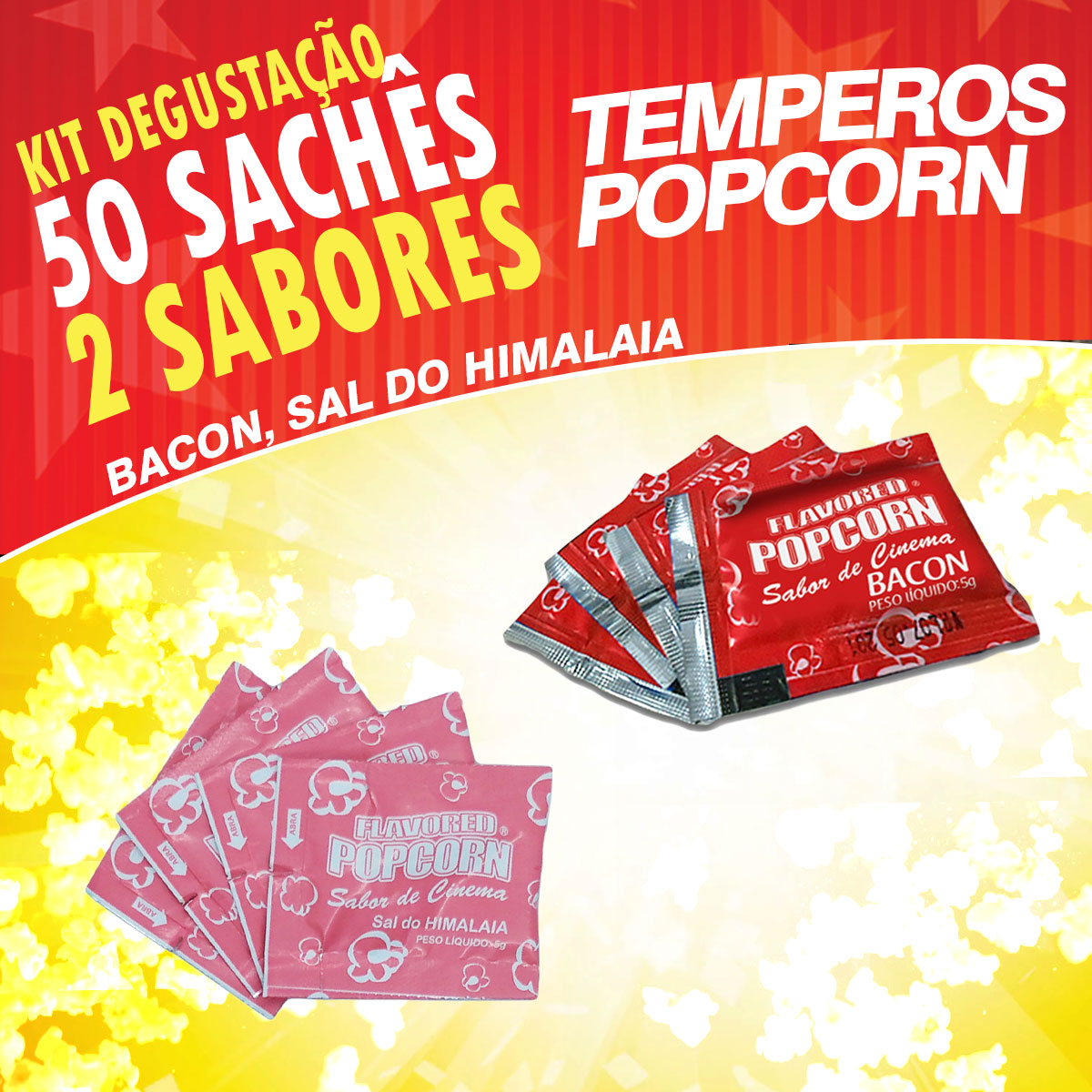 Temperos Popcorn 50 sachês. 25 Bacon e 25 Sal do Himalaia.