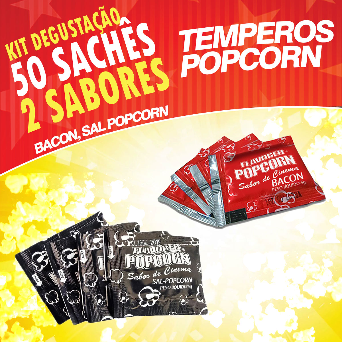 Temperos Popcorn 50 sachês. 25 Bacon e 25 Sal Popcorn.