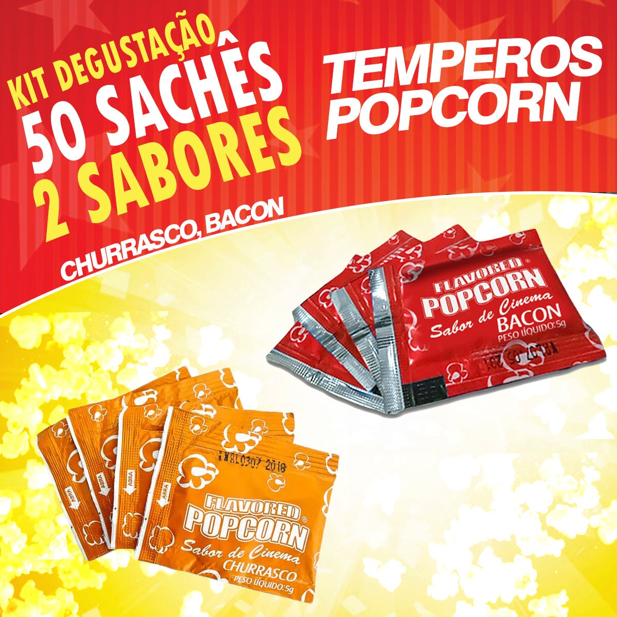 Temperos Popcorn 50 sachês. 25 Churrasco e 25 Bacon.