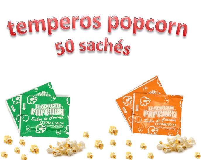 Temperos Popcorn 50 sachês. 25 Churrasco e 25 Cebola e Salsa.