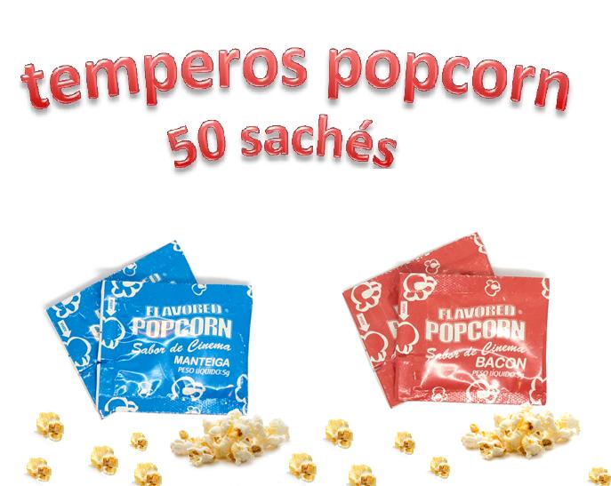 Temperos Popcorn 50 sachês. 25 Manteiga e 25 Bacon.