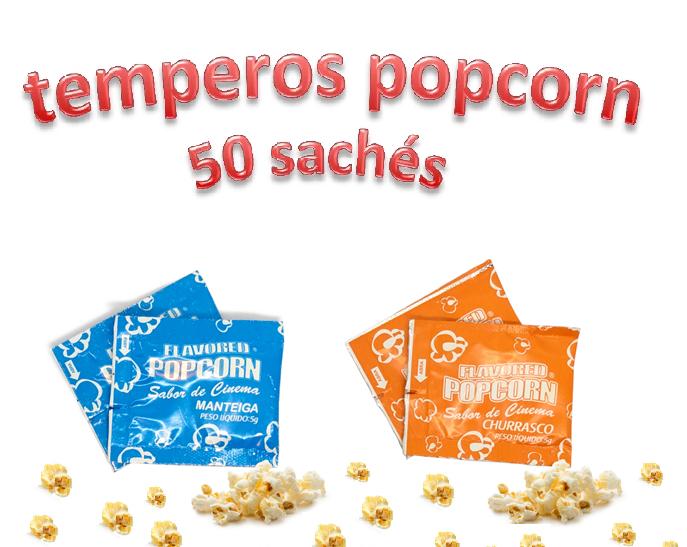 Temperos Popcorn 50 sachês. 25 Manteiga e 25 Churrasco.