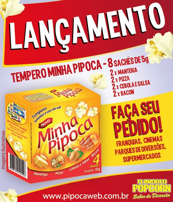 Temperos Popcorn 50 sachês. 25 Manteiga e 25 Churrasco.