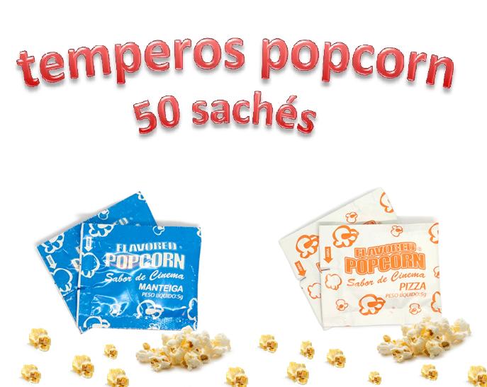 Temperos Popcorn 50 sachês. 25 Manteiga e 25 Pizza.