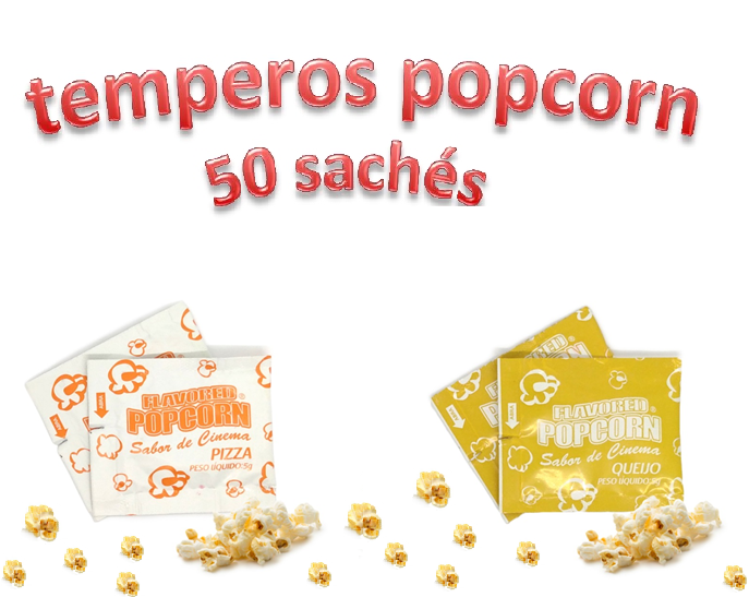 Temperos Popcorn 50 sachês. 25 Pizza e 25 Queijo.