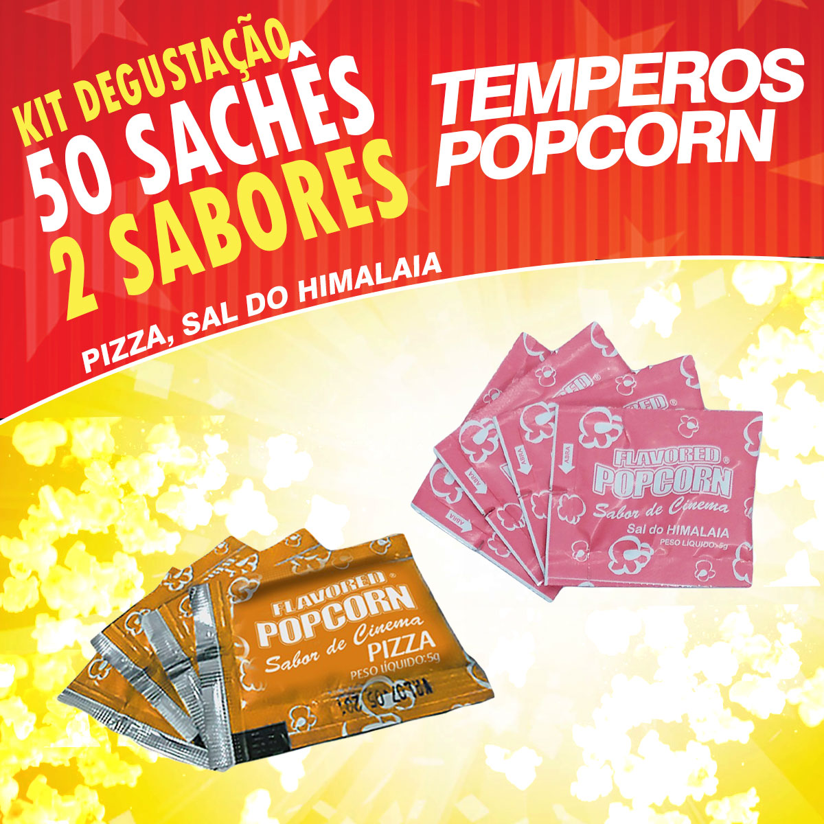 Temperos Popcorn 50 sachês. 25 Pizza e 25 Sal do Himalaia.