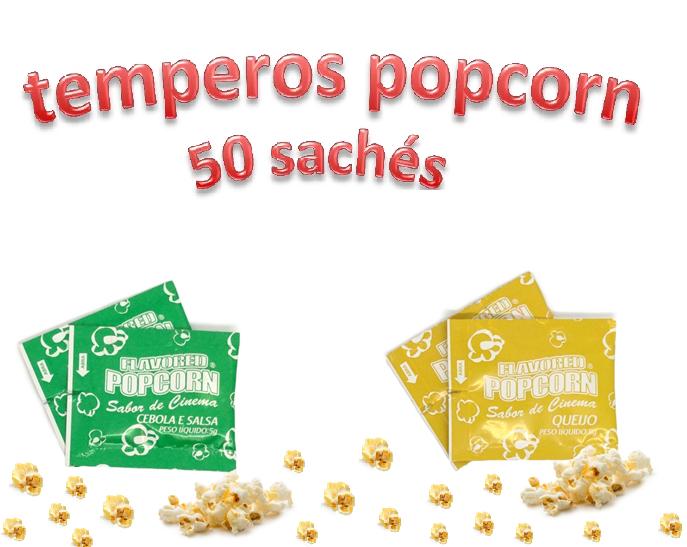 Temperos Popcorn 50 sachês. 25 Queijo e 25 Cebola e Salsa.