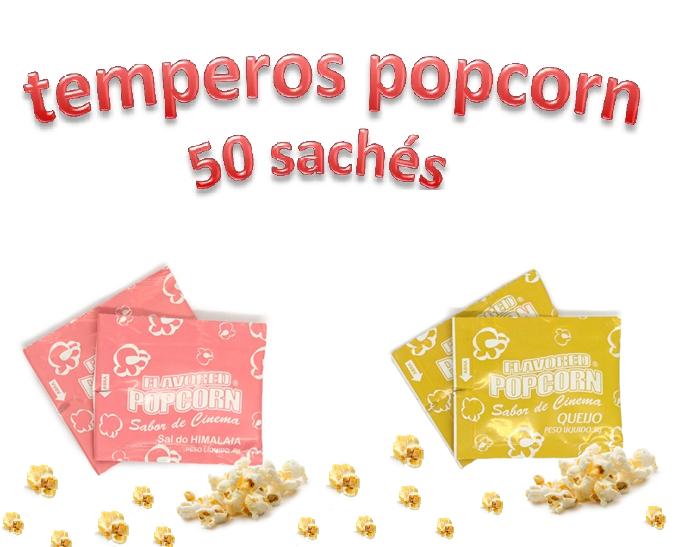 Temperos Popcorn 50 sachês. 25 Queijo e 25 Sal do Himalaia.