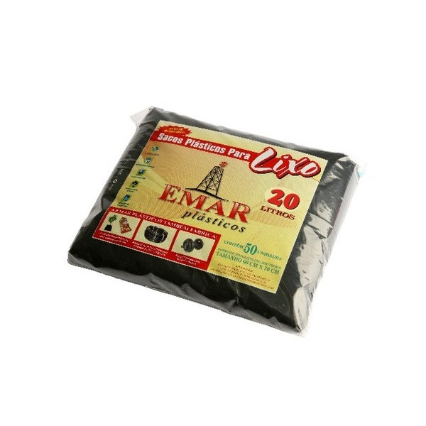 Sacos Pretos p/ Lixo c/ 50 unidades  - Emar - Loja Virtual