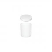 Kit com Potinho Plástico Branco + Tampa Branca