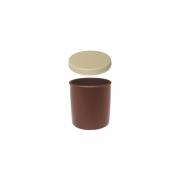 Kit com Potinho Plástico Castanho + Tampa Bege