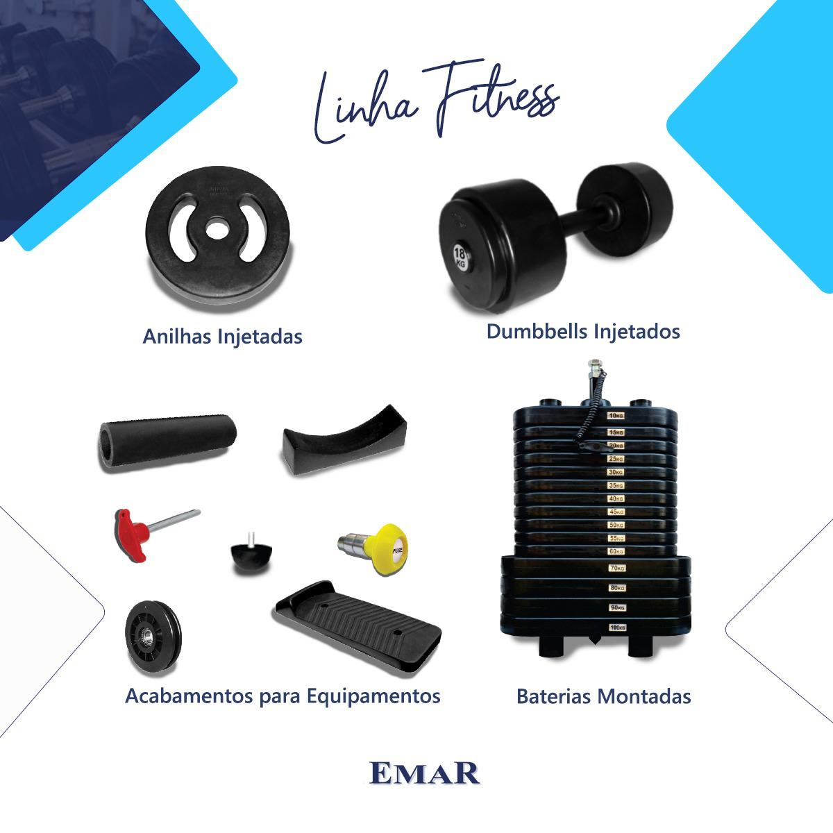 """Kit com 2 Anilhas Injetadas de 25 kg cada - Furo Standard 1.1/8"""" Revestidas com Grossa Camada de PVC"""