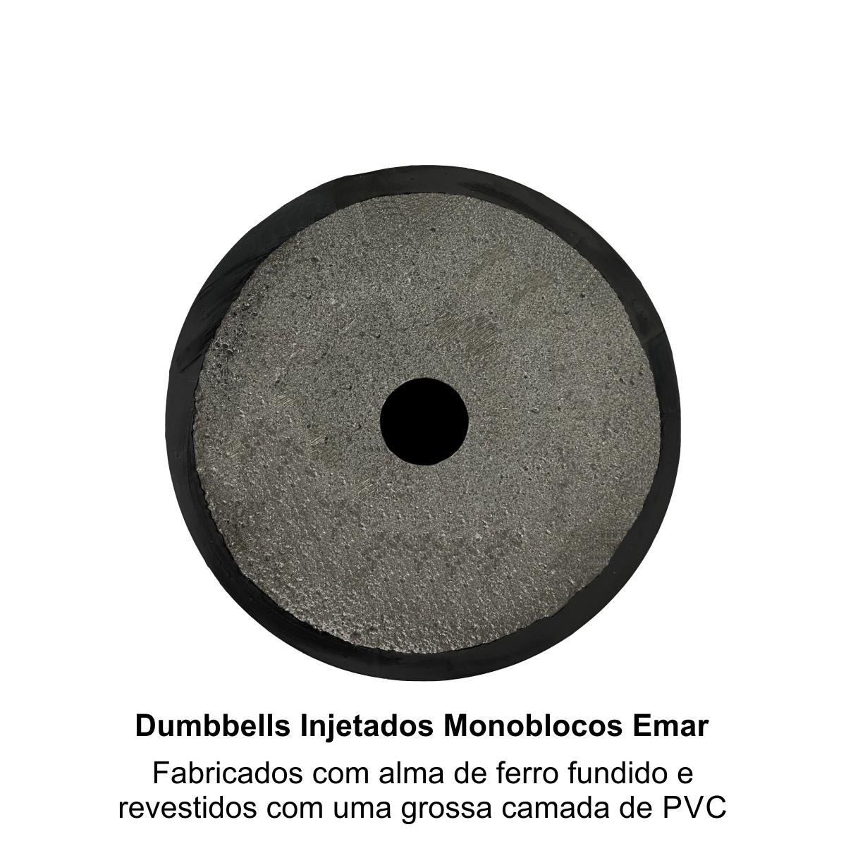 kit com 2 Dumbbells Injetados Monoblocos Revestidos com Grossa Camada de PVC