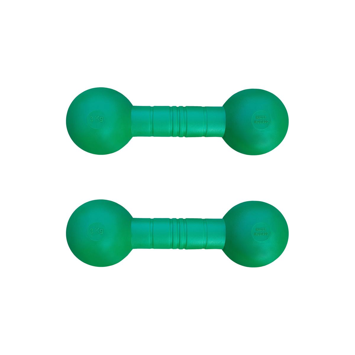 Kit com 2 Halteres Injetados Verdes Revestidos com Grossa Camada de PVC