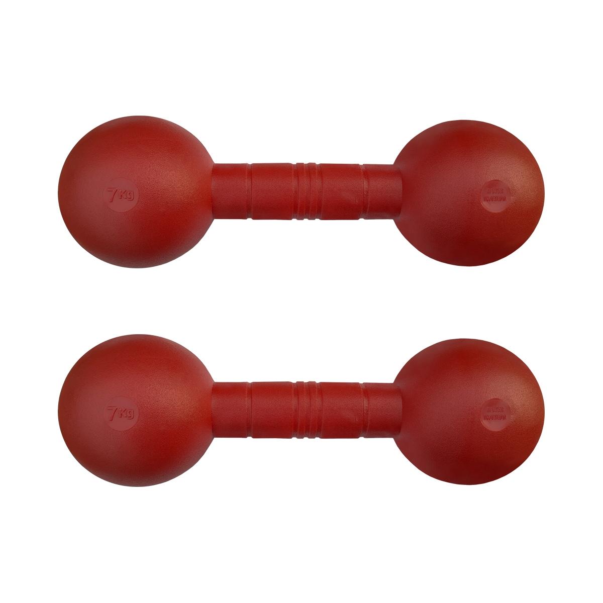 Kit com 2 Halteres Injetados Vermelhos Revestidos com Grossa Camada de PVC