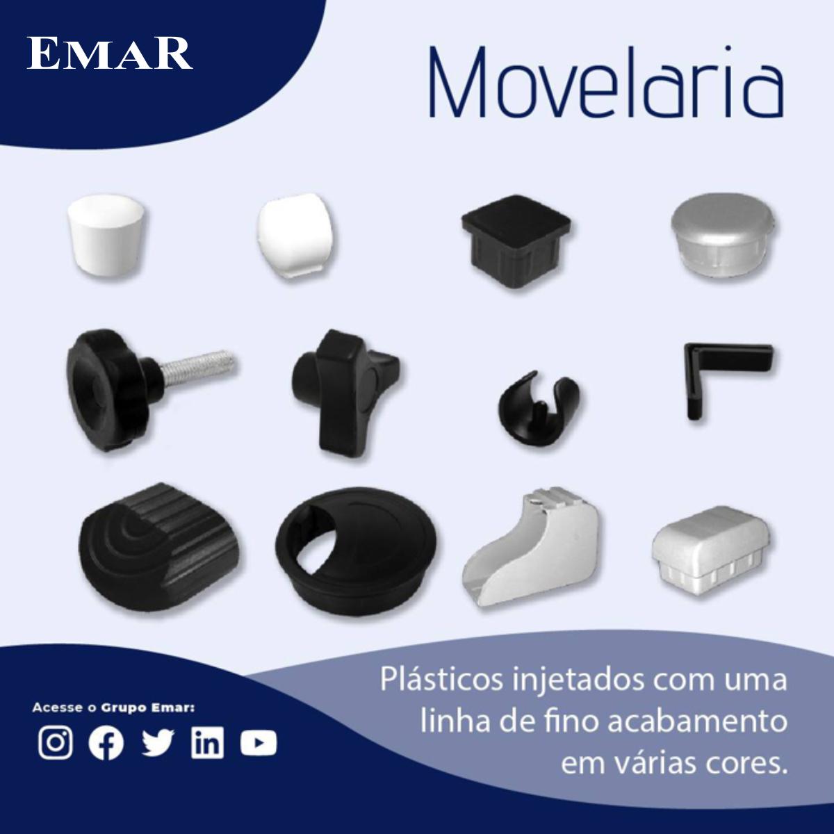 Ponteira Plástica para Móveis Externa Preta Abaulada