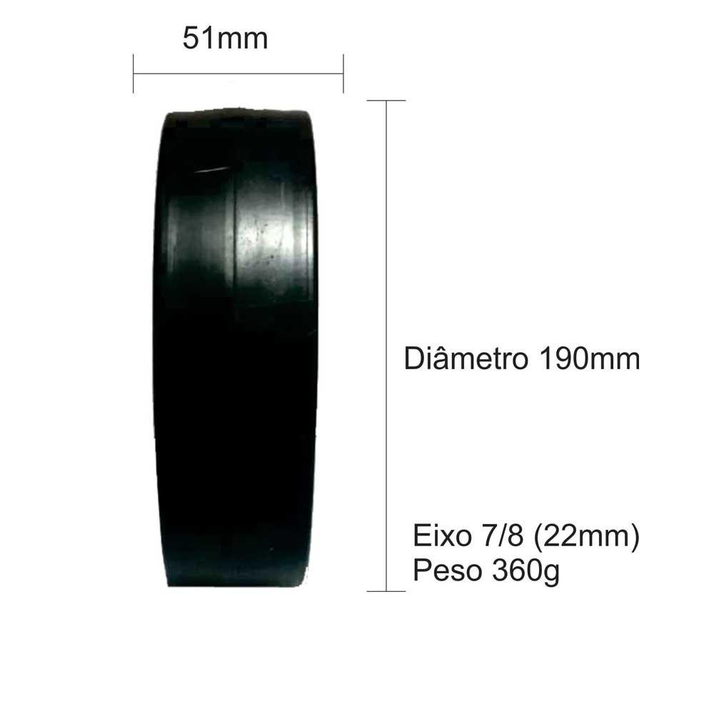 """Roda 7.1/2"""" - 190 mm com Furo 7/8"""" PP"""