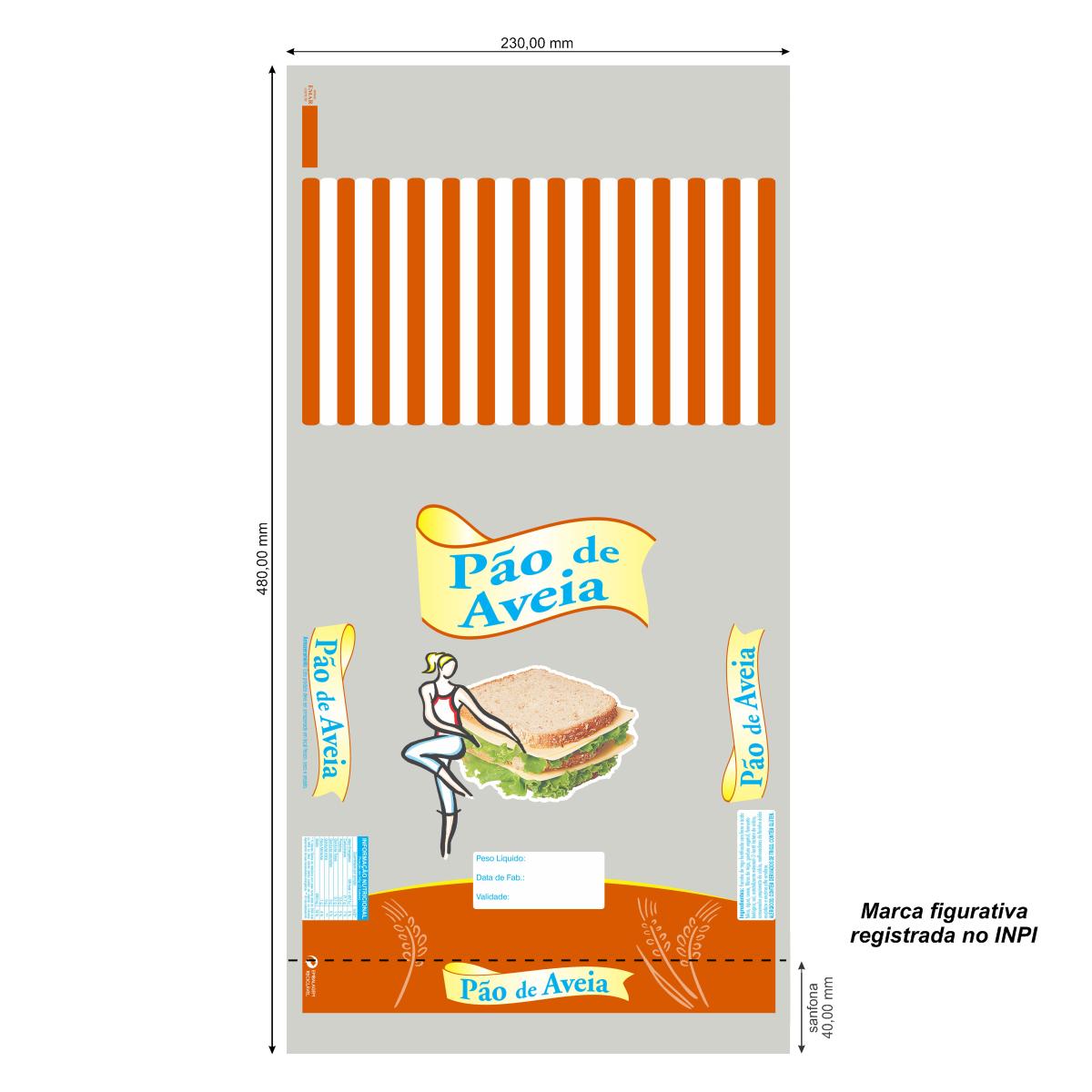 Sacos para Pão de Aveia com Foto com 100 unidades