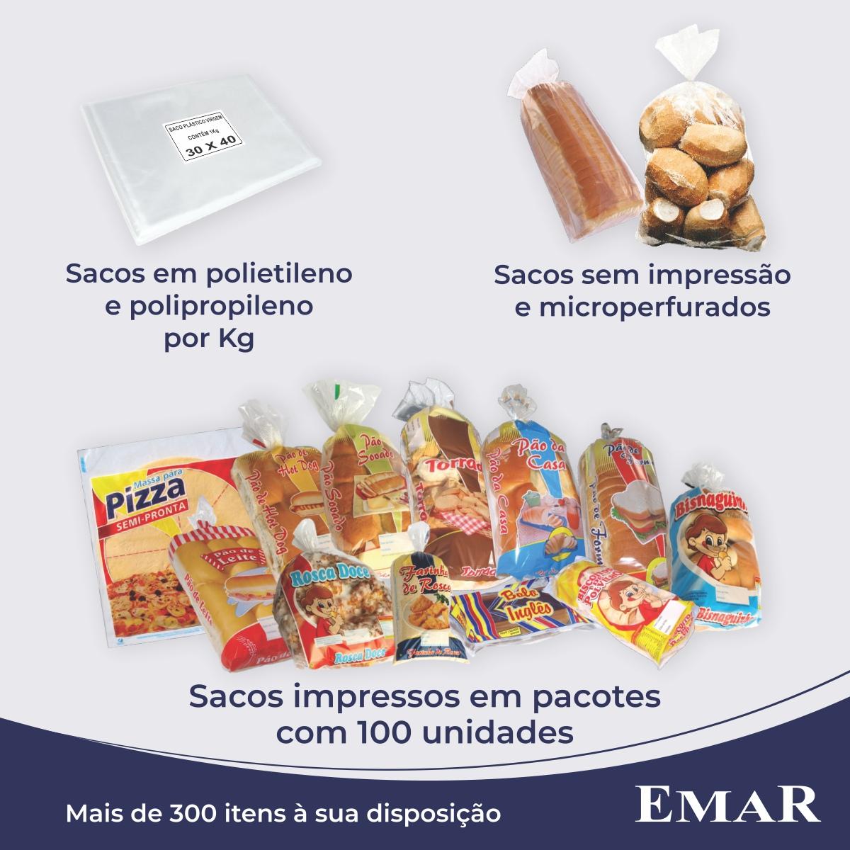Sacos para Pão de Coco com Foto com 100 unidades