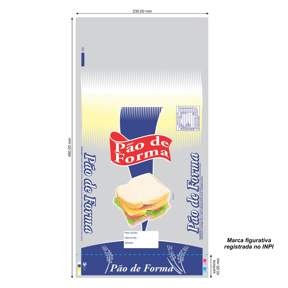 Sacos para Pão de Forma Azul com Foto com 100 unidades