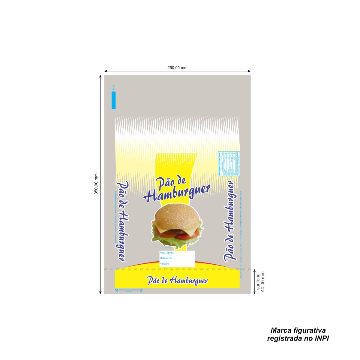 Sacos para Pão de Hamburguer com Foto com 100 unidades - Capacidade 4 Pães