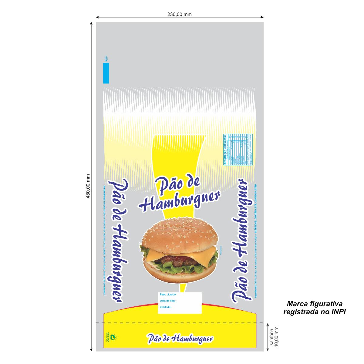 Sacos para Pão de Hamburguer com Foto com 100 unidades - Capacidade 6 Pães