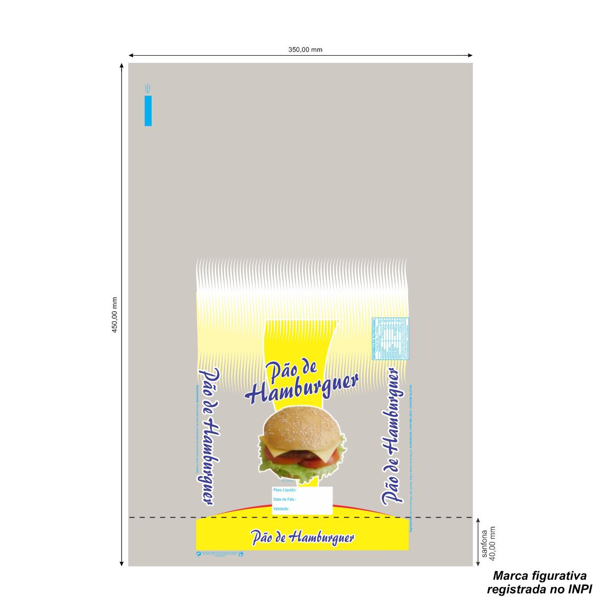 Sacos para Pão de Hamburguer com Foto com 100 unidades - Capacidade 8 Pães