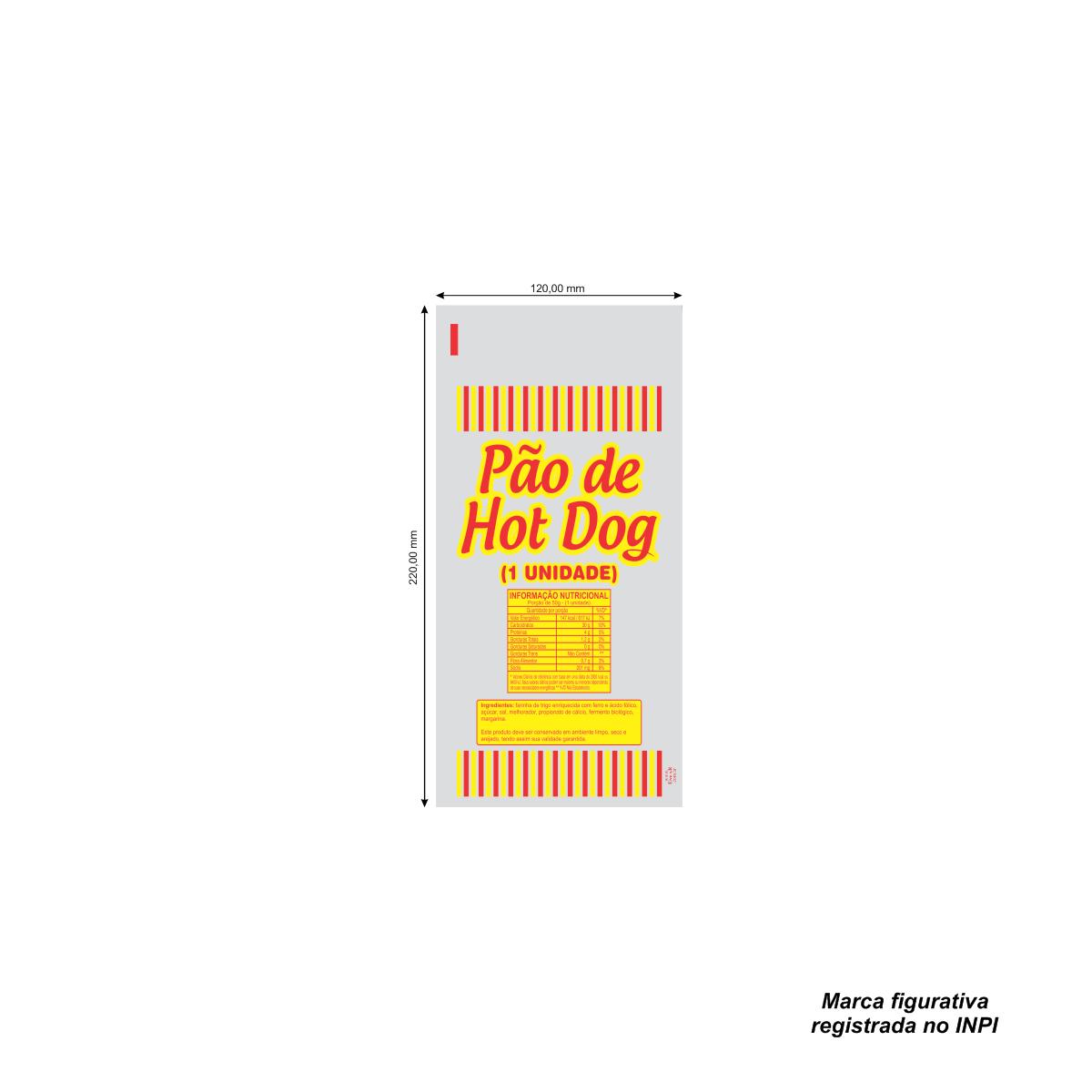Sacos para Pão de Hot Dog com 100 unidades - Capacidade 1 Pão