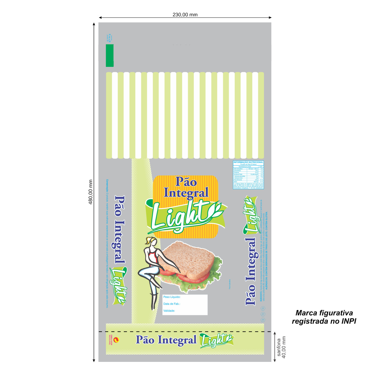 Sacos para Pão Integral Light com Foto com 100 unidades