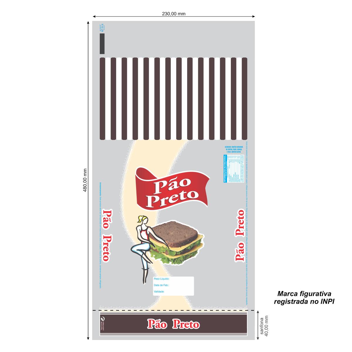 Sacos para Pão Preto com Foto com 100 unidades
